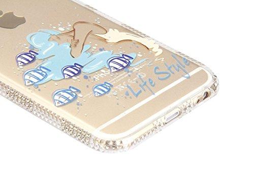 iPhone 6 Plus/ 6s Plus Coque Housse Etui, iPhone 6 Plus Silicone Rose Gold Scintiller Glitter Coque, iPhone 6s Plus Or Rose Coque en Silicone Placage Coque Clair Ultra-Mince Etui Housse, iPhone 6 Plus Diamant-Poissons et filles