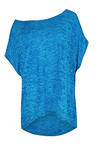 Womens Ladies Burn Out Mesh Fishnet High Low Curved Hem Direct Sleeve T Shirt