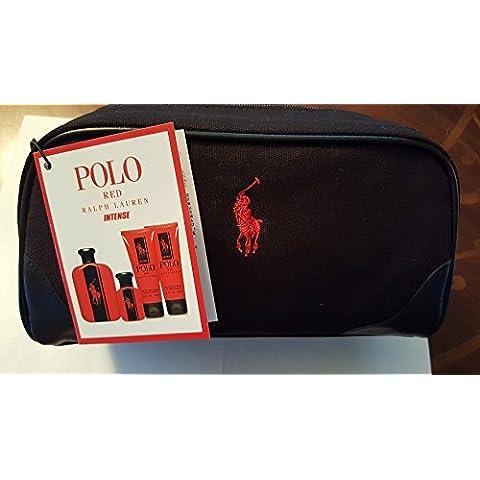 NEW Ra lph La uren Po lo Red Intense 5 Piece Gift Set (4.2 oz Eau De Parfum EDP Spray+ 1.36 oz Eau De Parfum EDP Spray + 3.4 After Shave Balm + 3.4 Hair & Body Wash + Black Dopp Kit) by R.L.