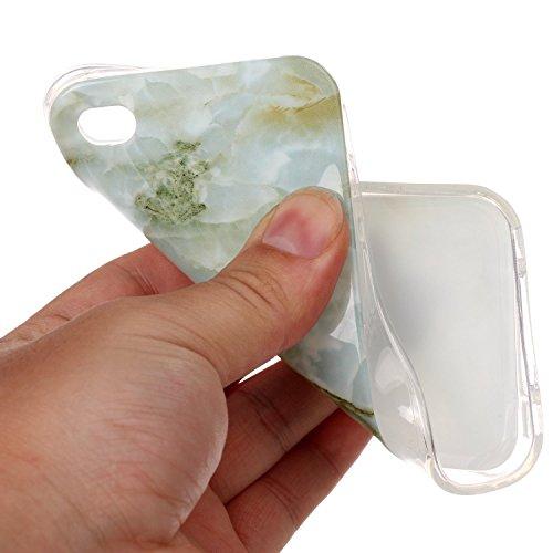 Coque iPhone 4S,Coque iPhone 4,Coque Étui Case pour iPhone 4S / 4,ikasus® Coque iPhone 4S / 4 Silicone Étui Housse Téléphone Couverture TPU avec Motif Gleaming de texture de marbre TPU doux étui en si Vert Marble