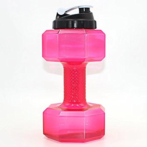 BUYTNUE 2.2L große Kapazität Umweltfreundliche Tasse Hantel Form Trinkflaschen Wasserkocher Personalisierte Flasche (BPA Frei), Rosa + Gelb (Flasche Personalisierte Rosa)