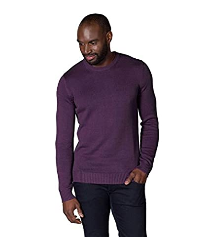 WoolOvers Mens 100% Cotton Crew Neck Knitted Sweater Emperor, M