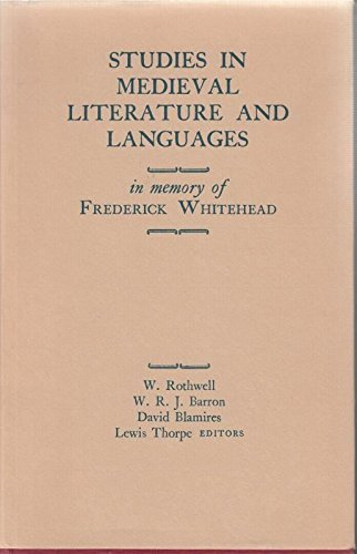 Studies in medieval literature and languages;: In memory of Frederick Whitehead;