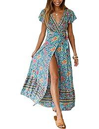 a46618ba9f3 ECOWISH Damen Kleider Boho Sommerkleid V-Ausschnitt Maxikleid Kurzarm Strandkleid  Lang mit Schlitz