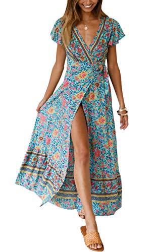 ECOWISH Damen Kleider Boho Sommerkleid V-Ausschnitt Maxikleid Kurzarm Strandkleid Lang mit Schlitz Grün M