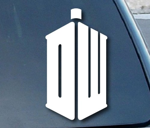 Aufkleber Doctor Who DW Car Window Vinyl Decal Sticker 127mm Tall (Color: White) (Aufkleber Who Doctor)