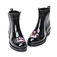 YJxiaobaozi Rain Boots For Women Waterproof Rain Boots Cute Pink Flamingo Women Pvc Rubber Fashion Heel Water Shoes Short Ankle Rainboot Chelsea Booties