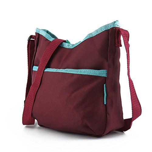 Mefly Single Schulter Handtasche Diagonales Kreuz Pack Plaid Nylon Umhängetasche Travel Tragetasche Claret