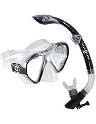 Aqua Lung Magellan/Atlantis Go Pro - Gafas de buceo y tubo de snorkel unisex (talla única), color negro y plateado