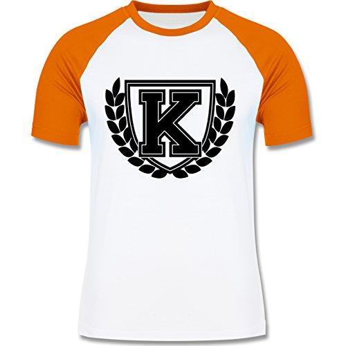 Anfangsbuchstaben - K Collegestyle - zweifarbiges Baseballshirt für Männer Weiß/Orange