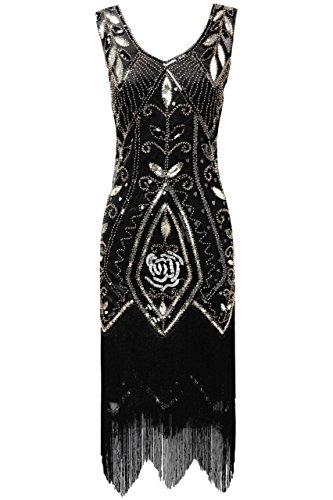 ArtiDeco 1920s Kleid Damen Retro 20er Jahre Stil Flapper Kleider mit Fransen V Ausschnitt Gatsby Motto Party Kleider Damen Kostüm Kleid (Schwarz Gold, XL (Fits 86-92 cm Waist & 100-103 cm Hips)) (Kleid Schwarz Jahre 20er)