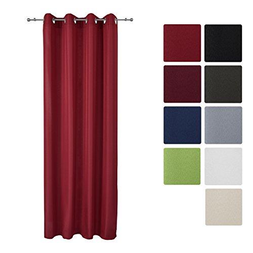 Beautissu Blickdichter Ösen-Vorhang Amelie - 140x175 cm Rot Uni - Dekorative Gardine Ösenschal Fenster-Schal