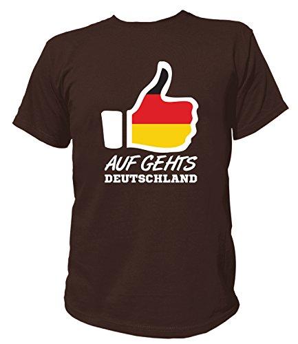 Artdiktat Herren T-Shirt - Like WM 18 - auf Geht´s Deutschland - Russia Russland Größe XL, Braun