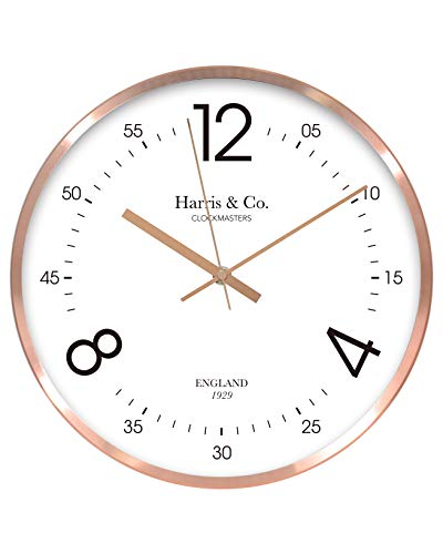 Harris & Co. Clockmasters Analog Wall Clock (12 Inch) (Rosegold, with Glass, Metal Frame)(Silent Sweep Noiseless Technology)