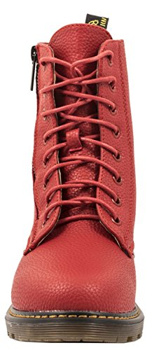 Elara Damen Biker Boots | Trendige Kurzschaft Stiefeletten | Schnallen Nieten Rot 2 Lederoptik