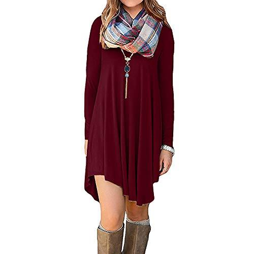Dasongff Damen Pulloverkleid Sexy Rundhals Elastisch Langarm Winterkleid Einfarbig Jumper Minikleid Kurze Kleider Modische Elegante Weinrot Wickelkleid - Plaid Trenchcoat