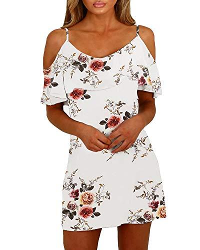 men Sexy Tshirt Kleid Schulterfrei Tunika Kurzarm MiniKleid Strandkleid Blumenmuster Schulterfrei-Weiß EU44 ()