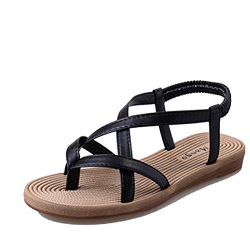 Gaorui Sommer Damen Mädchen T-Strap Sandalen Gladiator Zehentrenner mit Strass Strandschuhe 619 Schwarz