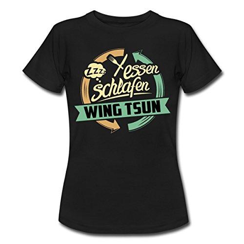Spreadshirt Essen Schlafen Wing Tsun Rahmenlos Geschenk Hobby Frauen T-Shirt, L, Schwarz