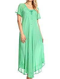 Sakkas Shasta Lace Embroidered Cap Sleeves Long Caftan Dress/Cover Up