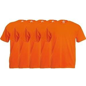 Fruit of the Loom Original  T Rundhals T-Shirt F140 5er Pack- Gr. M, Orange