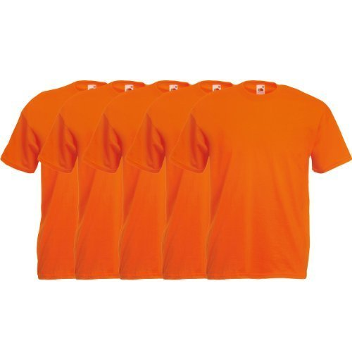 Fruit of the Loom Original  T Rundhals T-Shirt F140 5er Pack- Gr. XL, Orange