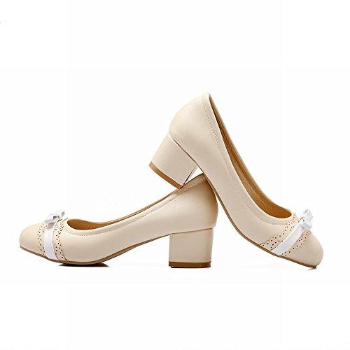 Mee Shoes Damen modern süß bequem dicker Absatz mit Spitze Schleife Geschlossen runder toe Pumps Beige