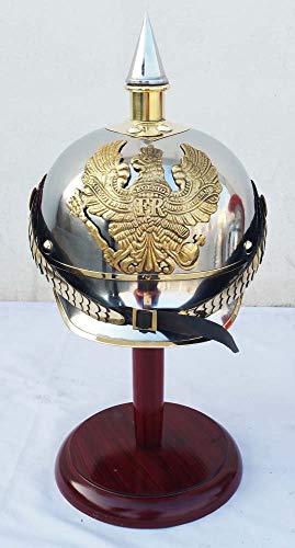 Pickelhaube Helm Kostüm - WW I & II Deutscher Preußischer Helm Messing Spike Pickelhaube Leder Helm Abzeichen