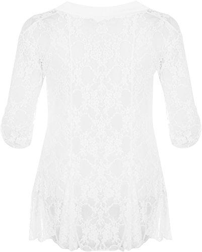 WearAll - Damen Übergröße Spitze Offen Cardigan Top - 7 Farben - Größe 40-54 Weiß