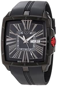 Gv2 Fiamme Men's Quartz Watch with Black Dial Analogue Display and Black Rubber Strap 9000