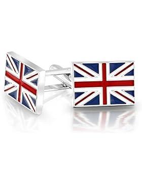 Bling Jewelry Mens Union Jack UK Britische Flagge Manschettenknöpfe Rhodiniert Emaille