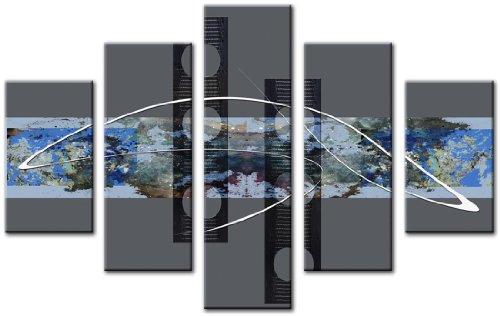 Lynxart Leinwanddruck 5Panel insgesamt 115x 80cm groß Art Wand Leinwand Abstrakt Digital Spike 2Blue - Teal Grau-wand-kunst