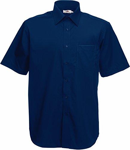 Poplin Hemd Kurzarm - Farbe: Navy - Größe: M (Kurzarm-pullover Navy)