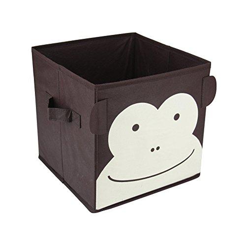 Mobili Rebecca® Organizer Contenitore Giochi 2 Maniglie Marrone Beige Tessuto Scimmia Ordine Giocattoli Camera Bambini Bimbi 25x25x25 cm (Cod. RE4741)