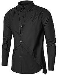 BUSIM Men's Long Sleeve Shirt Autumn Casual Fashion Solid Color Lapel Button Slim T-Shirt Top Cozy Breathable... - B07HKKZ6PG