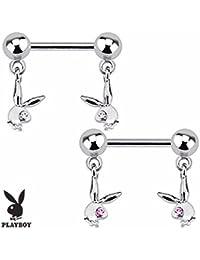Playboy Adulto conejo con Gemmed ojo Dangle Acero Nipple Bar (se vende como par)