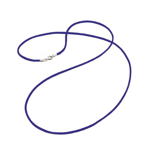 Engelsrufer Damen Halskette Stoff 925 Sterling Silber rhodiniert 80 cm Seidenband blau ERN-80-SI-07 -