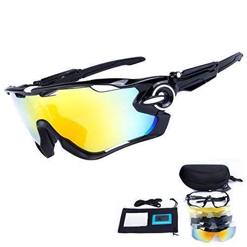 TOPTETN Polarized Sports Lunettes de Soleil UV400 Protection Lunettes de vélo 5 lentilles interchangeables Le Cyclisme, Baseball, pêche, Ski, Course (01)