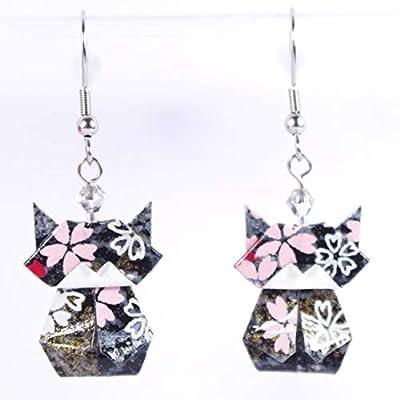 Boucles d'oreilles chats (chatons) origamis noirs et gris avec des petites fleurs blanches et roses - crochets inox