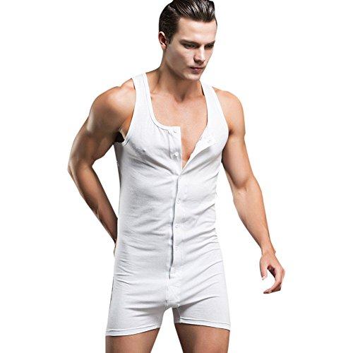 YiZYiF Herrenbody Männerbody mit Breiten Trägern und Langbein Sportshirt Unterwäsche Weiß L