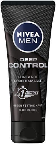 Nivea Men Deep Control reinigende Gesichtsmaske, Gesichtsreinigung für Männer gegen Unreinheiten, Reinigungsmaske, 2er-Pack (2 x 75 ml)