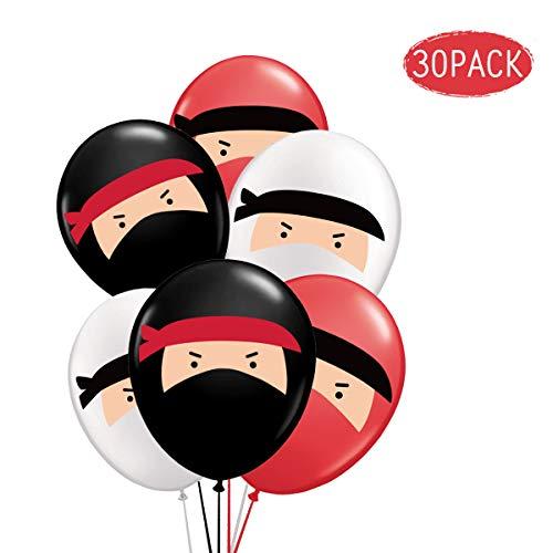 KREATWOW 30-Pack Ninja Luftballons, rot-schwarz-weiße Bedruckte Latexballons zum Geburtstag, Ninja-Kriegerparty, Karate, Judo, Martial Arts-Themenparty