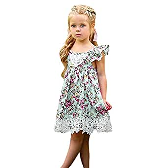956bc9a04b774 Girls Summer Straps Lace Dress, Baby Princess Ruffles Floral Printed Sling  Dresses Toddler Kids Fashion