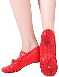 Dreamone Zapatillas de Ballet Cuero Zapatos de Danza Bailarinas Zapatillas  de Gimnasia Yoga Baile Niña Mujer a187ce8241b8