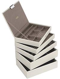 Stackers classic size  conjunto organizador de la joyería de 5 cajas , crema con forro de punto marrón
