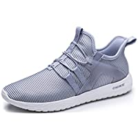 ONEMIX Women's Slip-On Casual Shoes Lightweight Cushioning Sport Walking Sneakers 1328 Grey 37