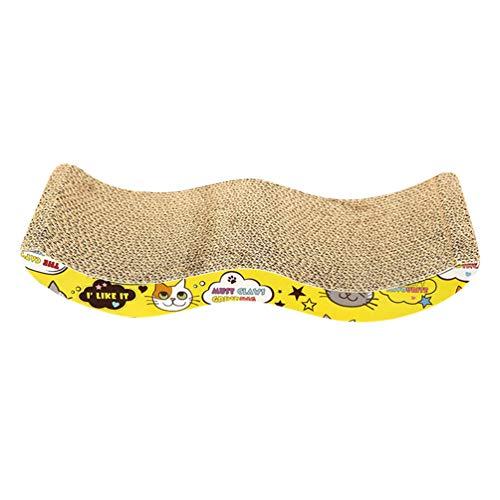 Jitong Gedrucktes Katzenkratzbrett Kratzmöbel aus Pappe Kurven Niedlich Haustier Spielzeug Katzenkratzbett (Khaki, 45 * 21 * 7.5cm)