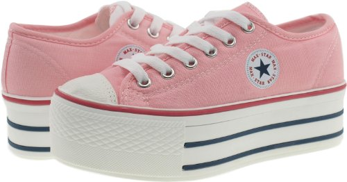 Maxstar C50, 6-Loch, Low-Top Trendy Plattform Sneakers Neon Pink