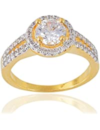 Devanjali Classic American Diamonds Designer Two Tone Gold Plated Solitaire Ring For Her, Girls, Women, Girlfriend...