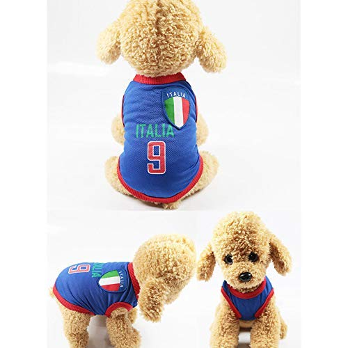 Tclothing Hosen Hund Latzhose Hunde Shirts Hundekleidung Pet Westen mit den Ländern Logo, vorbereitet für den Sport Fan, Geeignet für Haustiere Kostüm für Hunde Druckknopf Komfortabel